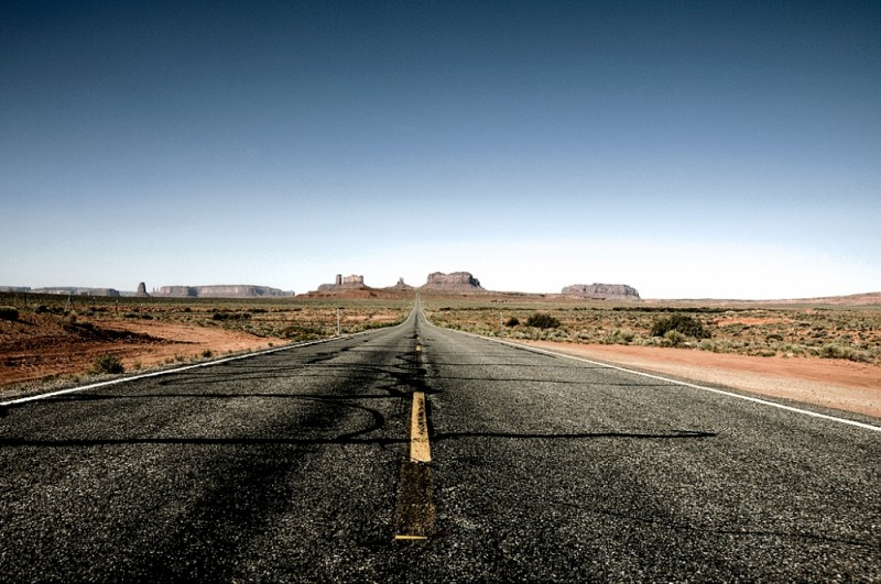 The view from mile post toward Monument Valley.