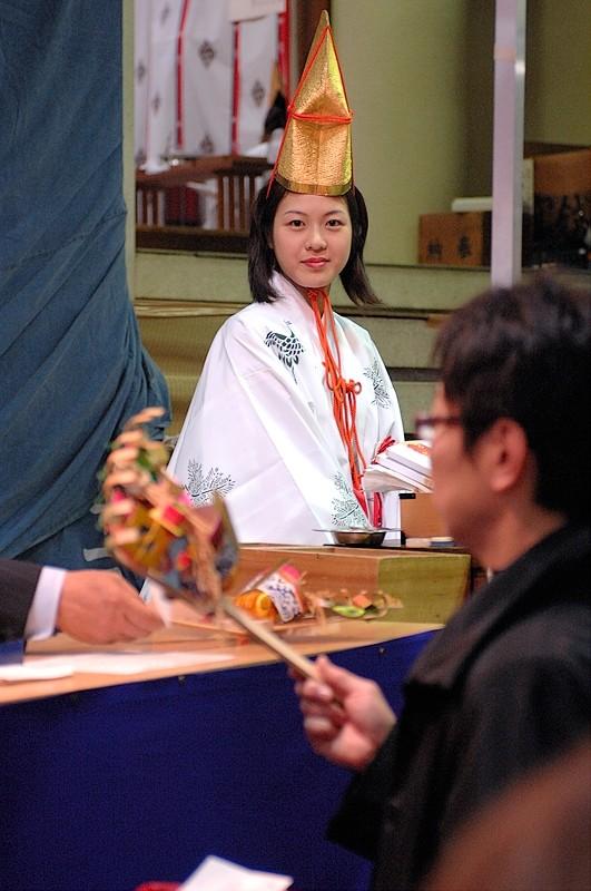 A shrine helper at the Ebisuko Festival.
