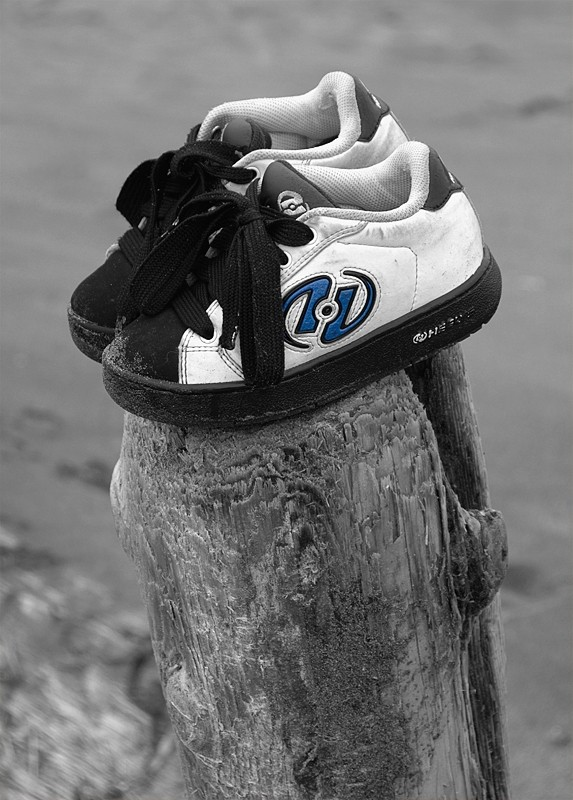 Shoes forgotten on the beach.