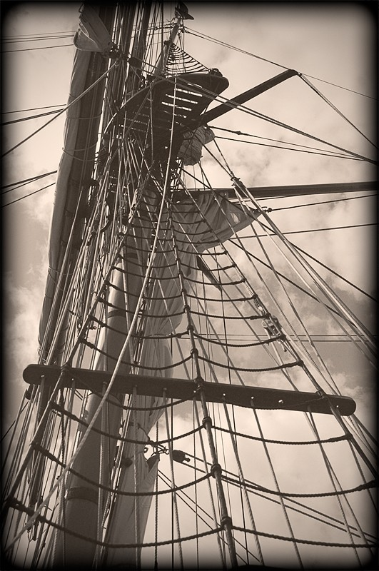 The rigging of a sailing ship.