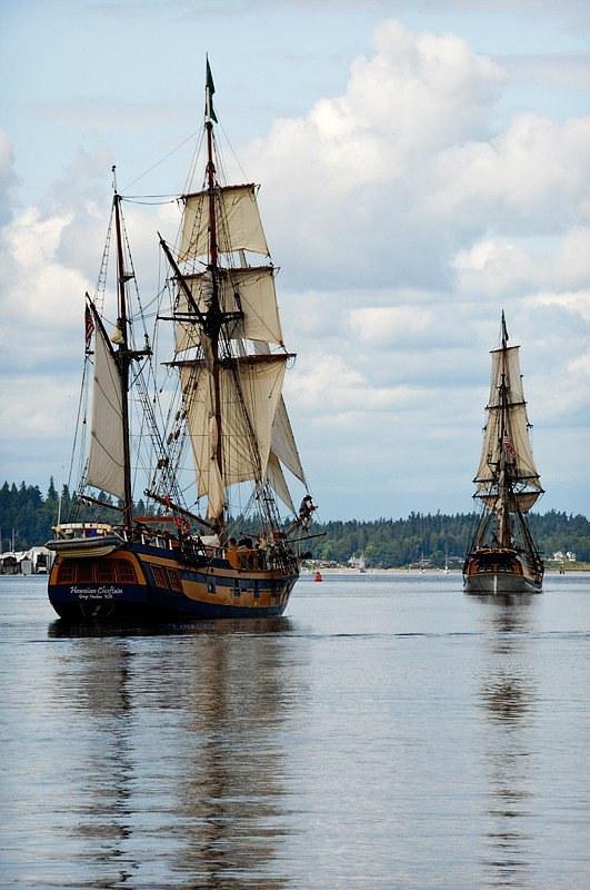 Two sailing ships in Olympia harbor.