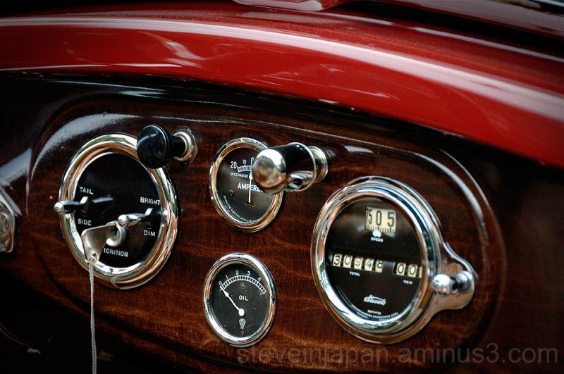 The dash in an antique car.