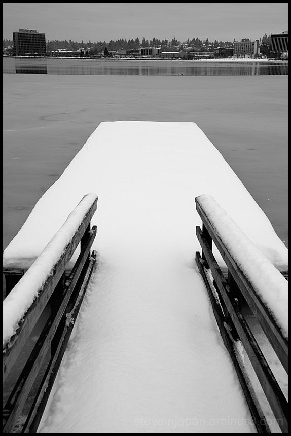 A swim dock at the frozen Capital Lake.