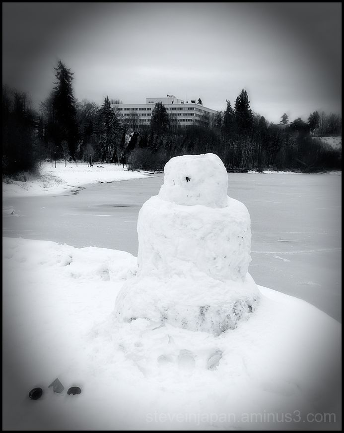 A snowman near Capital Lake.