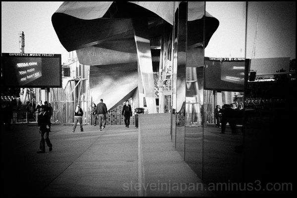 A photo outside the Experience Music Project.