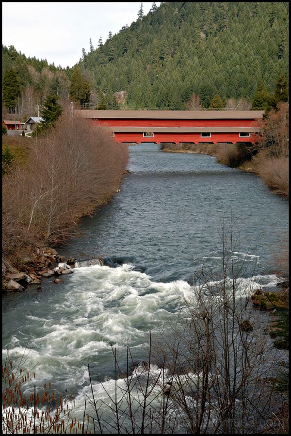 The Office covered bridge in Westfir, OR, USA.