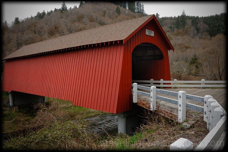 The Fisher School Covered Bridge in Oregon, USA.