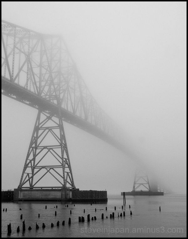The Astoria Bridge in mist.