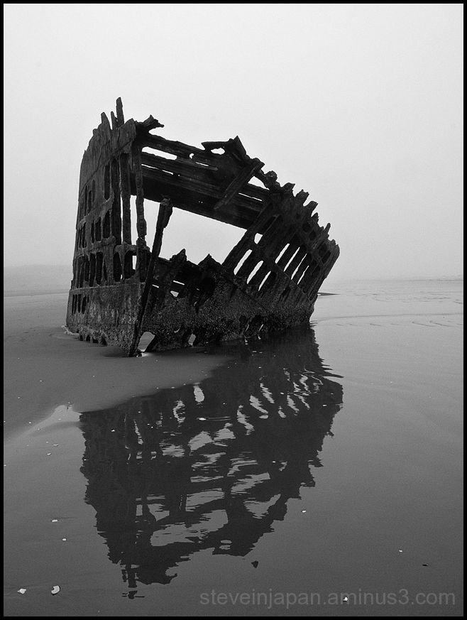 The wreck of the Peter Iredale near Astoria, OR.