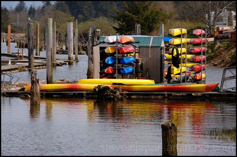 Colorful boats at Wheeler, OR.