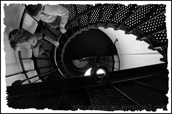 Going down the stairs at Yaquina Head Lighthouse.