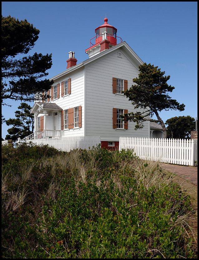 The Yaquina Bay Lighthouse on the Oregon coast.