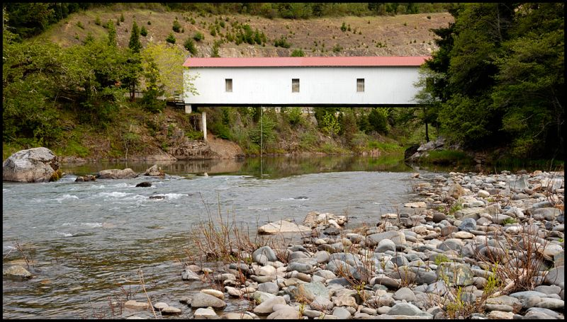 The Milo Academy covered bridge in Oregon, USA.