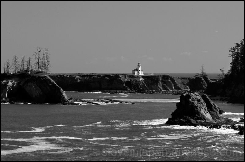 The Cape Arago Lighthouse in Oregon, USA.