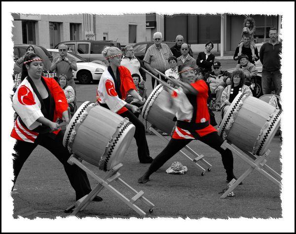 Taiko drummers at Bon Odori in Olympia, WA, USA.