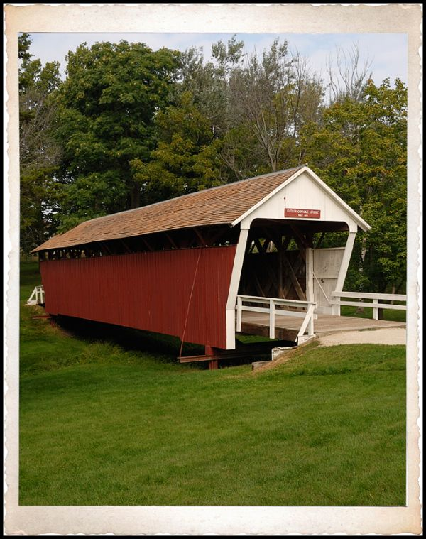 The Cutler-Donahoe covered bridge in Iowa.