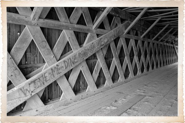 The interior of the Hogback covered bridge.