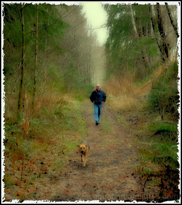 A man and dog near Blue Slough.