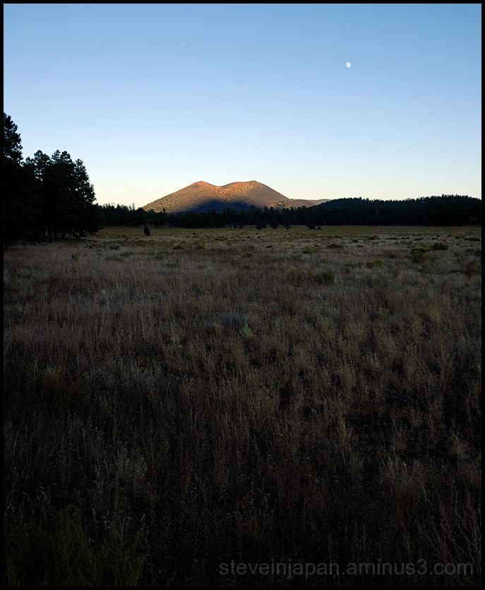 Sunset Crater at sunset.