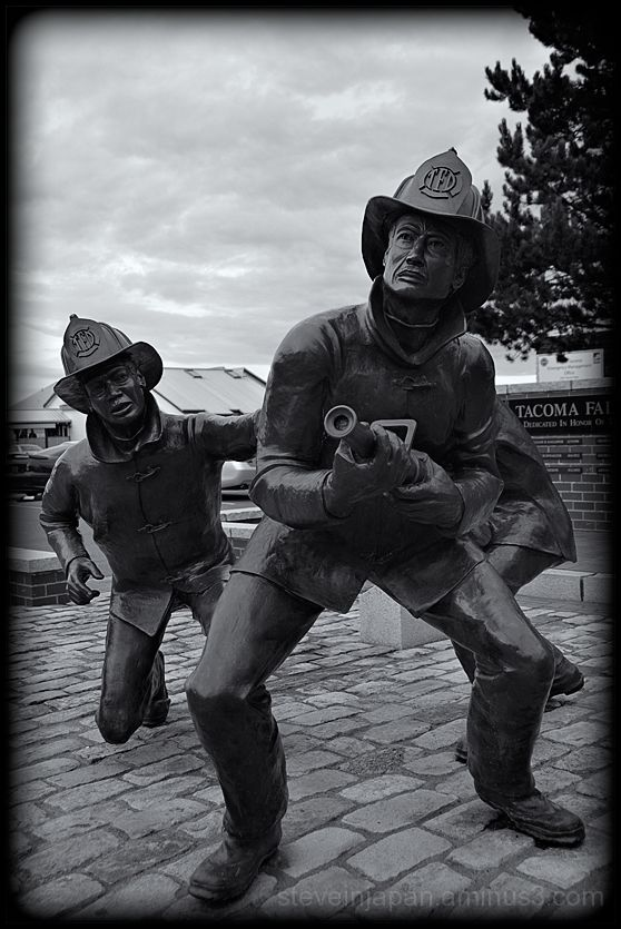 A memorial to fallen firefighters in Tacoma, WA.