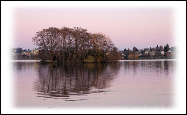 An island at sunset in Green Lake.