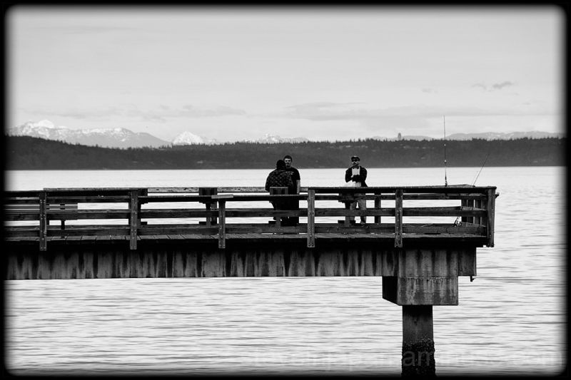 Fishing on a pier in Commencement Bay.