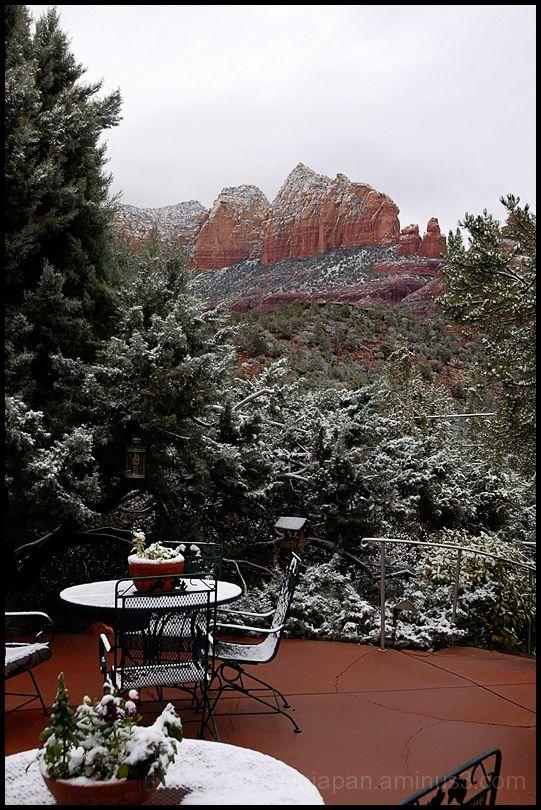 Sedona, AZ in snow.