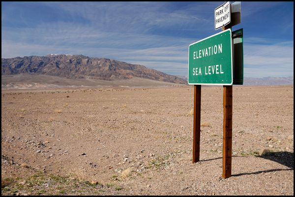 A sea level sign in Death Valley.