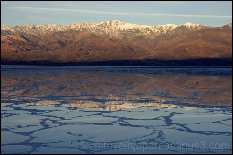 Dawn at Badwater in Death Valley.