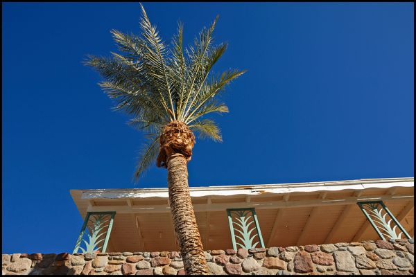 A veranda at Furnace Creek Inn in Death Valley.