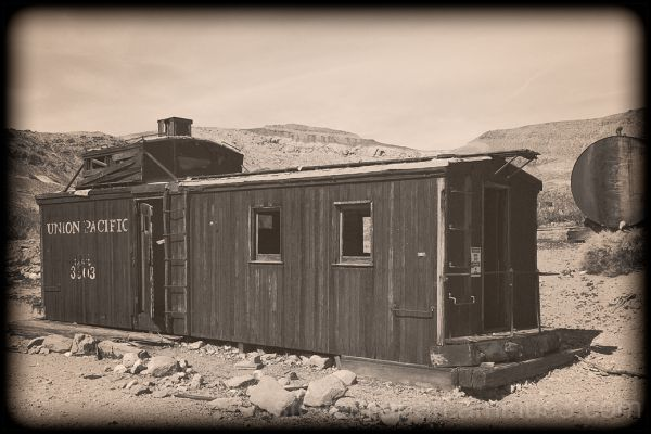 A caboose in Rhyolite, Nevada.