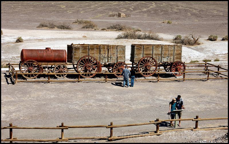 The 20 mule team wagons in Death Valley.