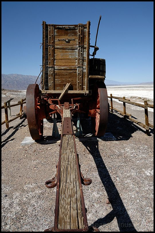 A 20 mule team wagon in Death Valley.