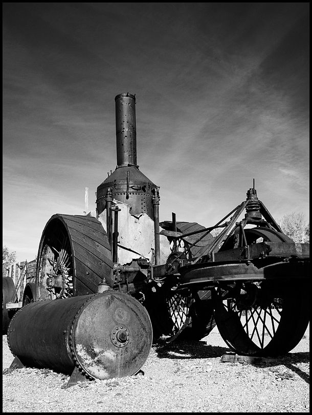 A steam tractor in Death Valley.