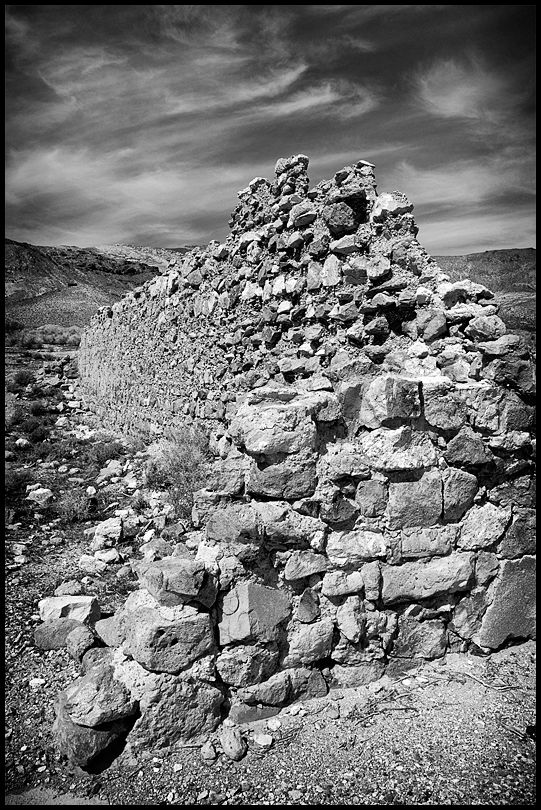 A ruined wall in Rhyolite, Nevada.