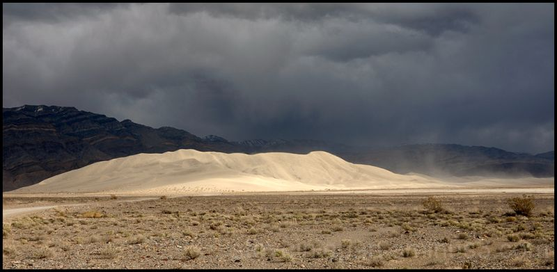 A dust storm at the Eureka Dunes in Death Valley.