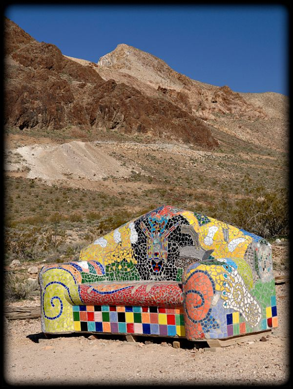 Sit Here! sculpture near Rhyolite, NV