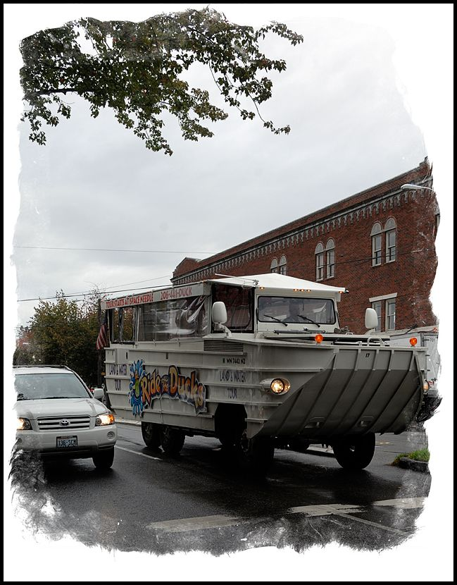 A Duck vehicle in the Fremont District.
