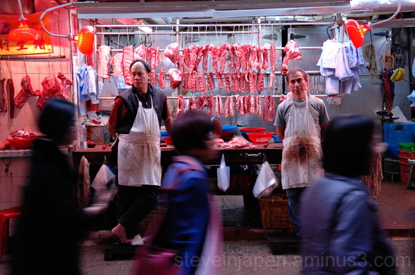 A meat shop in the Graham Street market.