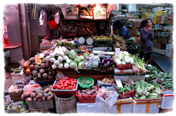 A vegetable seller in the Graham Street market.