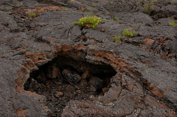 A small lava tube collapse shows us inside.