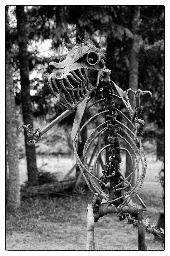 A scrap iron raptor sculpture.