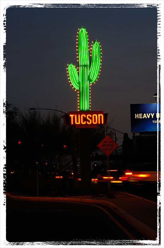 A sheet metal saguaro in Tucson, AZ.