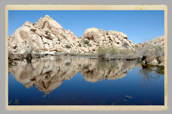 The Barker Dam reservoir in Joshua Tree NP.