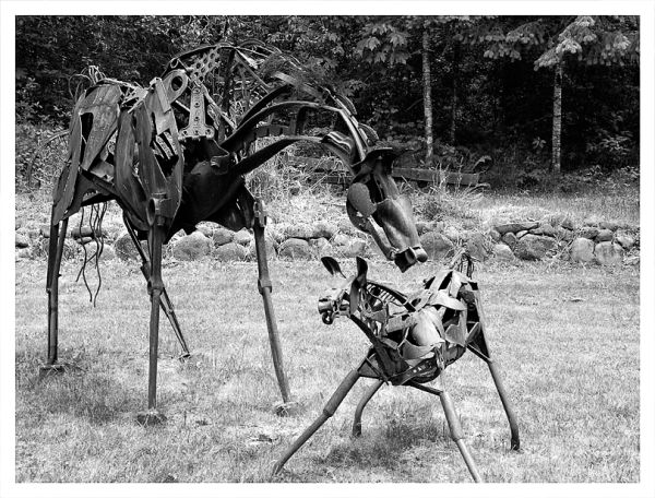 Horses made of found items - scrap metal.
