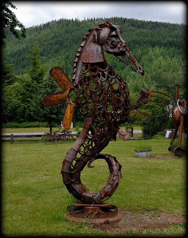 A seahorse sculpture made of scrap iron.