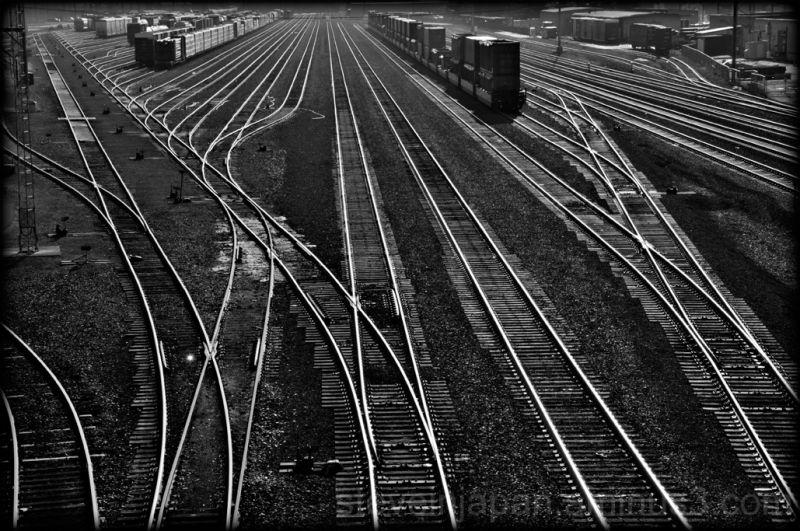 A rail yard in Tacoma, WA, USA.