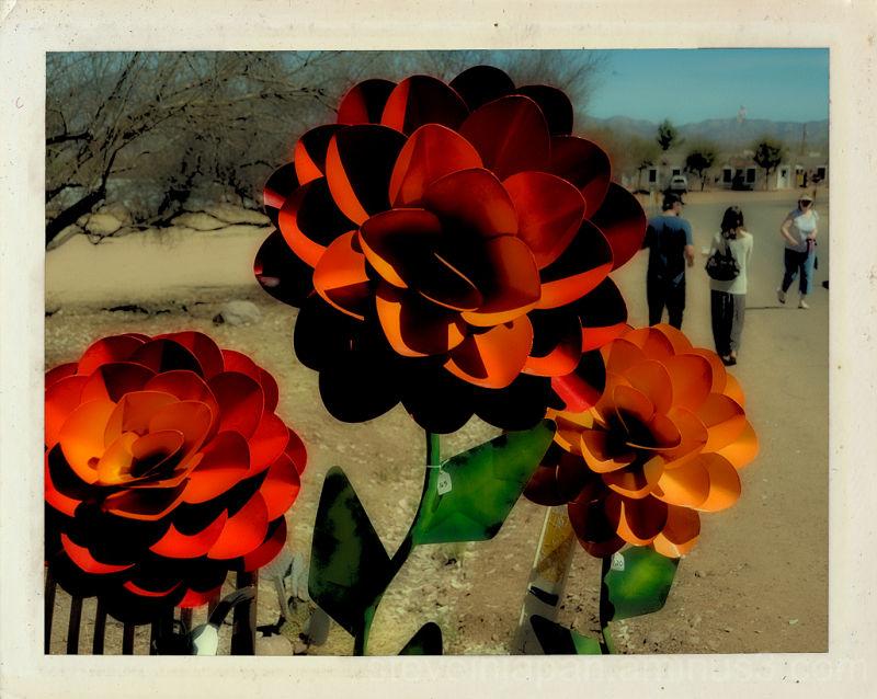 Colorful Mexican garden art in Tubac, AZ.