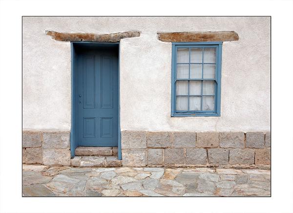 A blue door near the Presidio in Tucson, AZ.