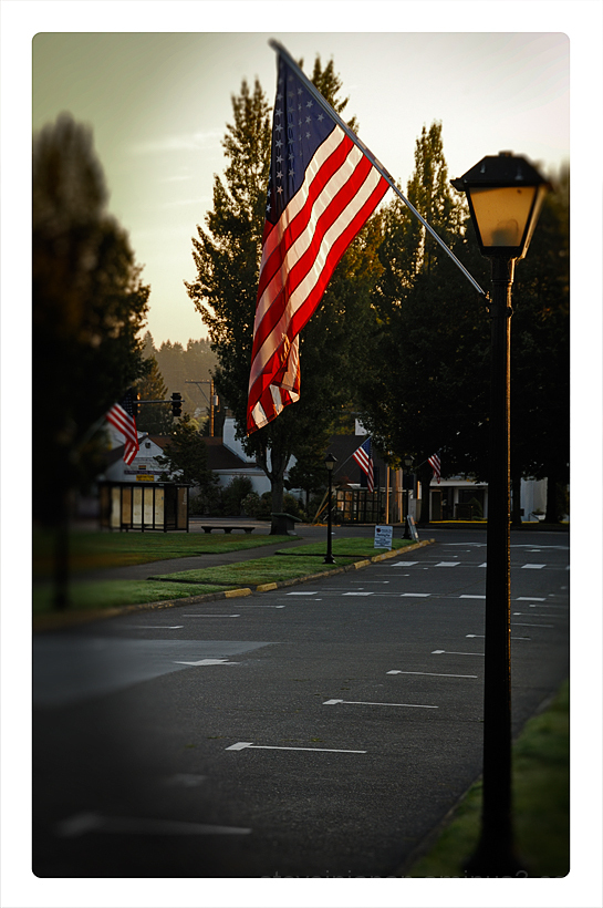 A flag on the Capitol grounds in Olympia, WA.